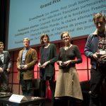 Lauréats des Prix des Assises 2018 : de gauche à droite: Thomas Sotto, Président du Jury; Samuel Forey ; Sidonie Naulin ; Pierangélique Schouler; Laurent Richard